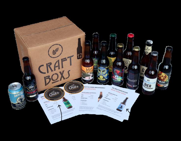 CraftBoxs pakket met 12 bieren, bierviltjes en achtergrond informatie & foodpairings